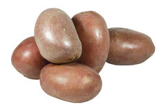 Five Raw Unpeeled Potatoes with Red Skin Stock Photo