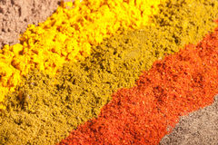 Five raws of flavorful bright spices. Five diagonal lines of flavorful bright spices Royalty Free Stock Images
