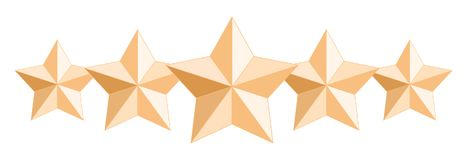 Five realistic glossy gold stars. Isolated on white transparent background. royalty free illustration