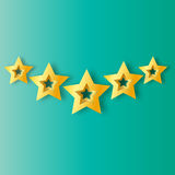 Five Realistic Origami 3D gold stars on a blue background. Award winner. 5 golden foil stars. Good job. Best reward. Choice. VIP. Premium class. Vector Royalty Free Stock Image