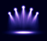 Five realistic vector spotlights lighting Royalty Free Stock Photo