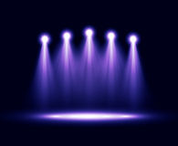 Five realistic vector spotlights lighting Royalty Free Stock Images