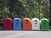 Five recycle bins stock photo