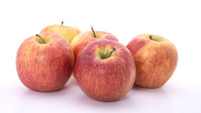 Five red apples Stock Photos