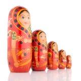 Five red Babushka Royalty Free Stock Photography