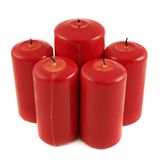 Five red candle composition isolated Royalty Free Stock Photography