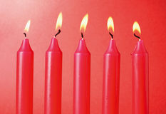Five Red Candles Stock Image