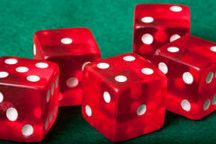 Five red casino dices Stock Images