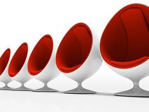 Five red chairs isolated on white background. 3D stock illustration