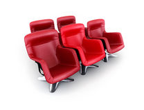 Five red chairs on white Stock Photos