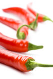 Five red chili peppers Royalty Free Stock Image