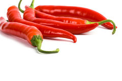 Five red chilli peppers Royalty Free Stock Images