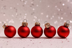 Five red Christmas balls Royalty Free Stock Image