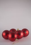Five Red Christmas Baubles Royalty Free Stock Photos