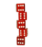 Five red dice Stock Photos