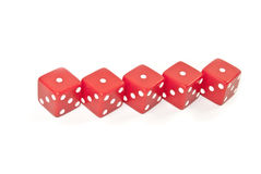 Five red Dice. Five dice specially arranged to give special aspect Royalty Free Stock Images