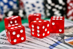 Five red dice Stock Photography