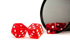 Five red dice on white background Royalty Free Stock Image