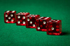 Five red dices Royalty Free Stock Image