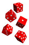 Five red dices isolated on white. Computer generated 3D photo rendering Royalty Free Stock Image