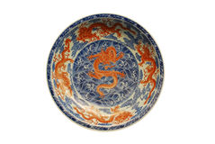 Five red Dragon painted on plate Royalty Free Stock Photos