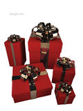 Five red gift boxes with gold ribbon. And bow isolated on white background 3d render ( high resolution Royalty Free Stock Image