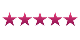 Five red gradient star. Vector illustration. Light background. Eps10 Royalty Free Stock Photo