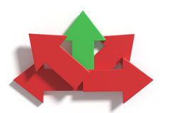 Five red and green arrows in different directions royalty free illustration