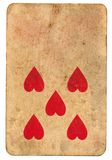 Five red heart symbol on old playing card paper background Royalty Free Stock Photos