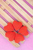 Five red hearts Stock Photography
