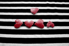 Five red hearts Stock Image