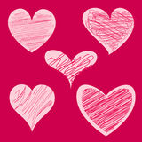 Five red hearts Stock Images
