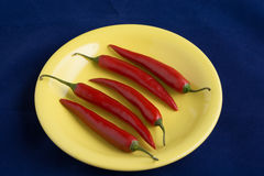 Five red hot chili peppers on yellow plate. Five red hot chili peppers lay on yellow plate Stock Photo