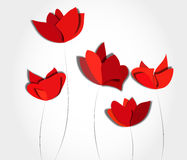 Five red paper flowers Stock Image
