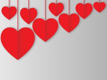 Design of red hearts. Five red paper hearts for Valentine`s day, family day, lovers feelings Royalty Free Stock Photography