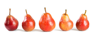 Five red pears. On white Stock Photography