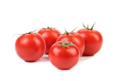 Five red ripe tomatoes Royalty Free Stock Images