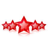 Five red stars Stock Image