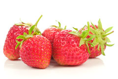 Five red strawberries Royalty Free Stock Image