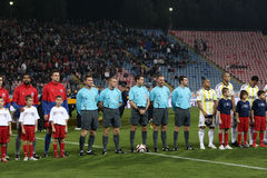 Five referees. All referees at Steaua Bucharest - Fenerbahce match, Europa League Royalty Free Stock Photo