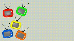 Five retro televisors on spotted background copy space. Five colorful retro televisors on spotted background copy space Stock Image