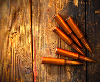 Five rifle cartridges Royalty Free Stock Photography