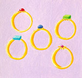 Five rings. Acrylic illustration of 12 Days of Christmas - Five rings Royalty Free Stock Photography