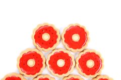 Five rings of strawberry biscuits. Stock Image