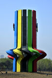 The five rings tower. One of the landmarks of the wulihe park, with the Olympic rings as the basic design idea, design of the rings Stock Photos