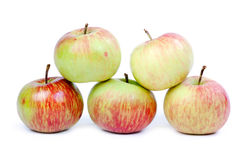 Five ripe apples on white background. Isolated. Stock Image