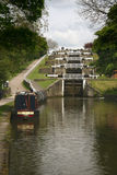 Five rise locks on canal Stock Photos