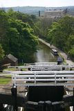 Five rise locks on canal Stock Images