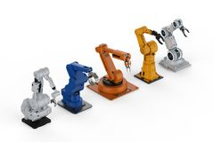 Five robotic arms. 3d rendering five robotic arms in a row on white background royalty free illustration