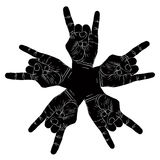 Five rock hands abstract symbol, black and white vector special Stock Images